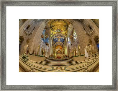 Basilica Of The National Shrine Main Altar Framed Print by Susan Candelario