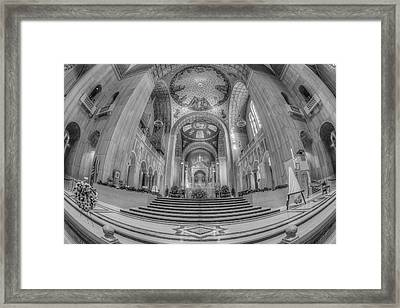 Basilica Of The National Shrine Main Altar Bw Framed Print by Susan Candelario