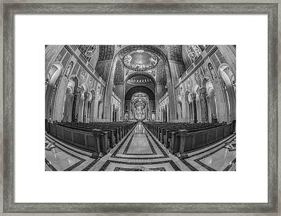 Basilica Of The National Shrine Of The Immaculate Conception Bw Framed Print by Susan Candelario