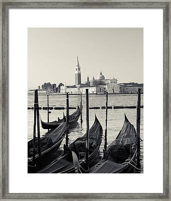 Basilica San Giorgio Maggiore And Gondolas Framed Print by Richard Goodrich