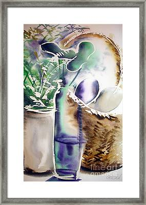 Framed Print featuring the painting Basket And Bottle by Allison Ashton