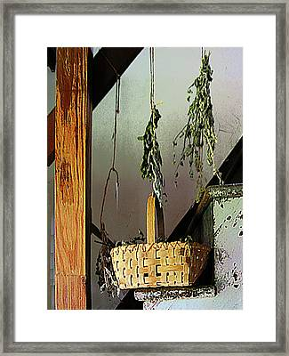 Basket And Drying Herbs Framed Print