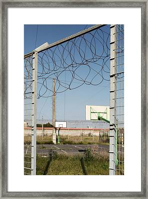 Basket Ball Playground At Abandoned Prison Framed Print by Dirk Ercken
