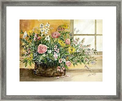 Basket Bouquet Framed Print by Arline Wagner