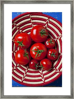 Basket Full Of Red Tomatoes  Framed Print
