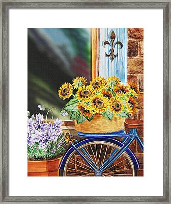 Basket Full Of Sunflowers Framed Print