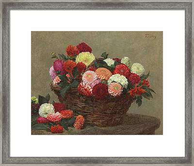 Basket Of Dahlias Framed Print by Ignace Henri Jean Fantin-Latour