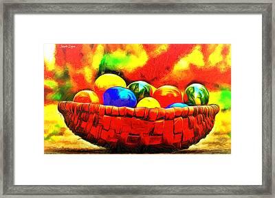 Basket Of Eggs - Da Framed Print by Leonardo Digenio