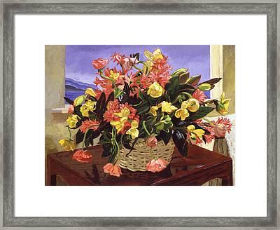Basket Of Flowers Framed Print by David Lloyd Glover