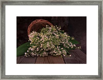Framed Print featuring the photograph Basket Of Fresh Lily Of The Valley Flowers by Jaroslaw Blaminsky