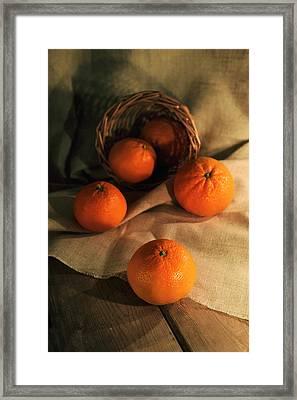 Framed Print featuring the photograph Basket Of Fresh Tangerines by Jaroslaw Blaminsky