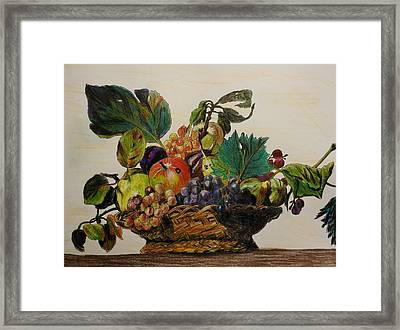Basket Of Fruit After Caravaggio Framed Print by Betty-Anne McDonald