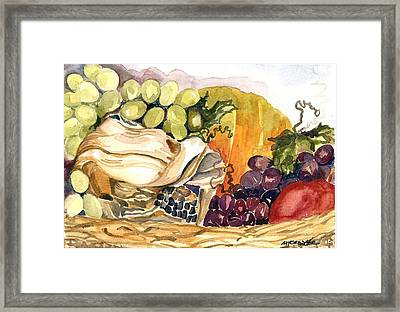 Framed Print featuring the painting Basket Of Fruit by Pat Crowther
