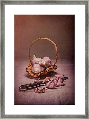 Basket Of Garlic Still Life Framed Print by Tom Mc Nemar