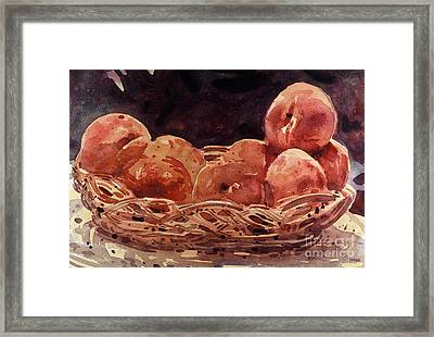 Basket Of Peaches Framed Print by Donald Maier