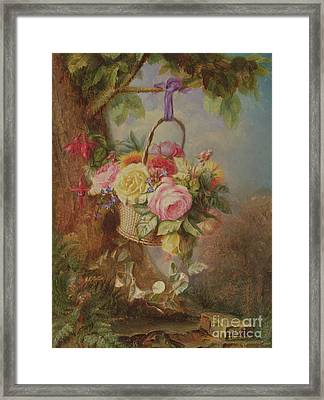 Basket Of Roses With Fuschia, 19th Century Framed Print