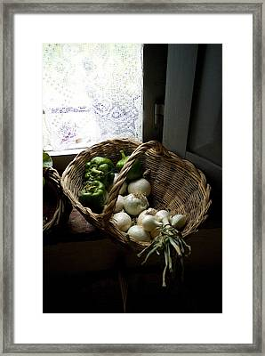 Basket Of Vegetables On A Kitchen Shelf Framed Print by Todd Gipstein