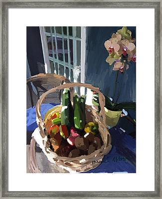 Basket Of Veggies And Orchid Framed Print