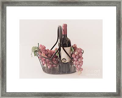 Basket Of Wine And Grapes Framed Print by Sherry Hallemeier