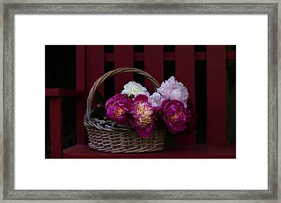 Basket On The Bench Framed Print by Rebecca Cozart