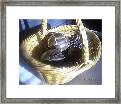 Basket With Brown Patterned Decor In The Sunlight Framed Print