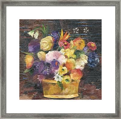 Basket With Flowers Framed Print by Nira Schwartz