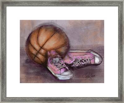 Basketball And Pink Shoes Framed Print