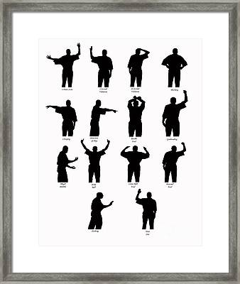 Basketball Call Silhouettes Framed Print by Karen Foley
