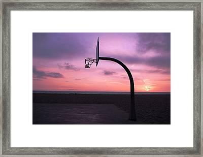 Basketball Court At Sunset Framed Print