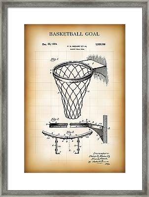 Basketball Goal Patent 1924 Framed Print by Daniel Hagerman