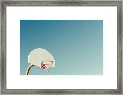 Basketball Hoop With Blue Sky Framed Print by Erin Cadigan