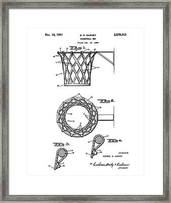 Basketball Net Patent 1951 Framed Print by Bill Cannon