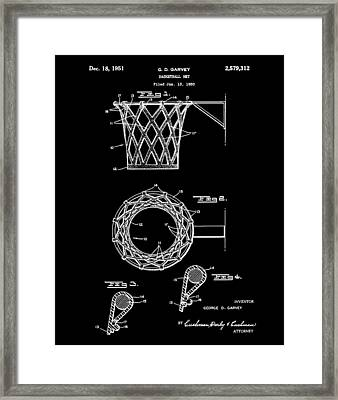 Basketball Net Patent 1951 In Black Framed Print by Bill Cannon