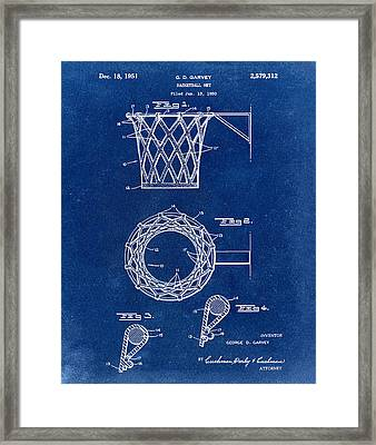 Basketball Net Patent 1951 In Blue Framed Print by Bill Cannon