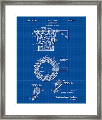 Basketball Net Patent 1951 In Blue Print Framed Print by Bill Cannon