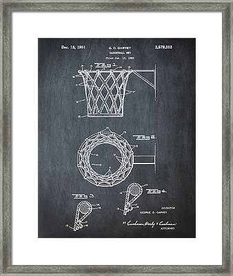 Basketball Net Patent 1951 In Chalk Framed Print by Bill Cannon