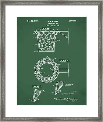 Basketball Net Patent 1951 In Green Framed Print by Bill Cannon