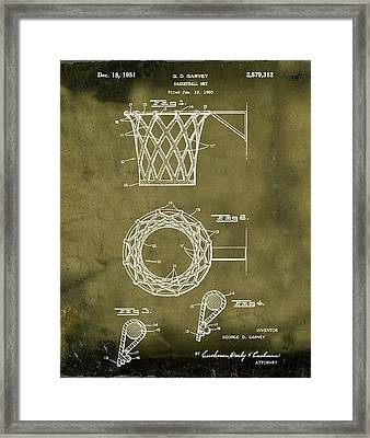 Basketball Net Patent 1951 In Grunge Framed Print by Bill Cannon