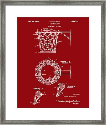 Basketball Net Patent 1951 In Red Framed Print by Bill Cannon