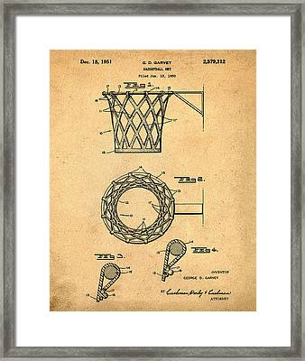 Basketball Net Patent 1951 In Sepia Framed Print by Bill Cannon