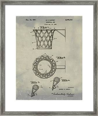 Basketball Net Patent 1951 In Weathered Framed Print by Bill Cannon