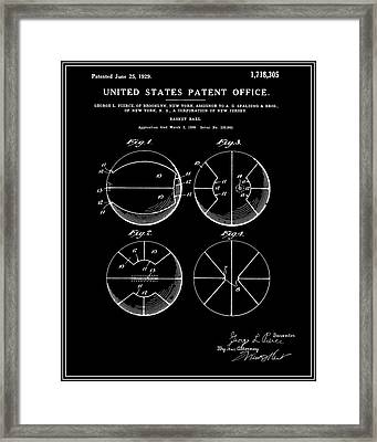 Basketball Patent - Black Framed Print
