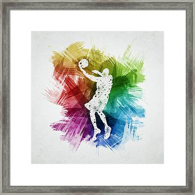 Basketball Player Art 01 Framed Print by Aged Pixel