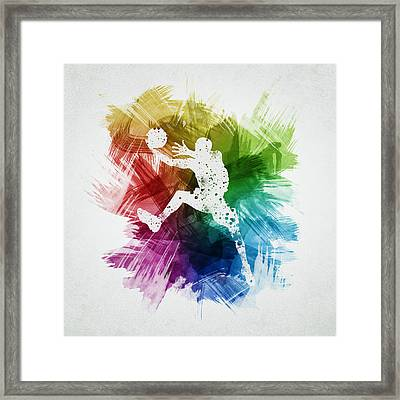 Basketball Player Art 04 Framed Print by Aged Pixel