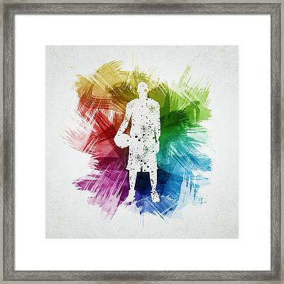 Basketball Player Art 10 Framed Print by Aged Pixel