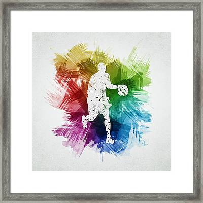 Basketball Player Art 16 Framed Print by Aged Pixel