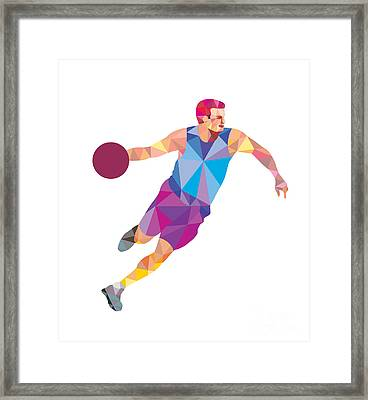 Basketball Player Dribble Front Low Polygon Framed Print