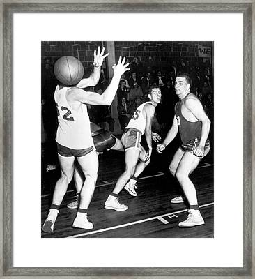 Basketball Player Head Framed Print by Underwood Archives