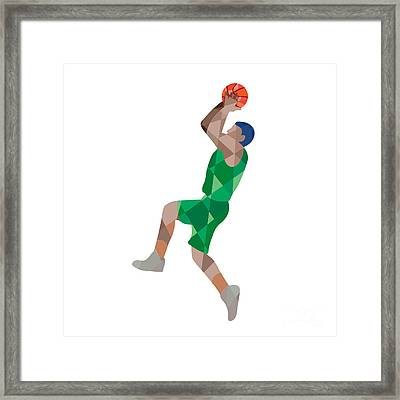 Basketball Player Jump Shot Ball Low Polygon Framed Print by Aloysius Patrimonio