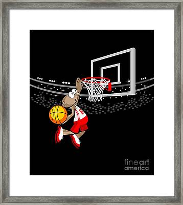 Basketball Player Jumping To Hit The Ball Framed Print
